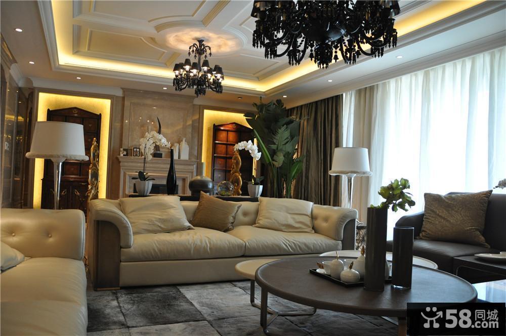 欧式新古典风格客厅吊顶装修效果图2014图片