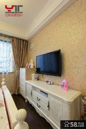 欧式卧室电视背景墙壁纸图片