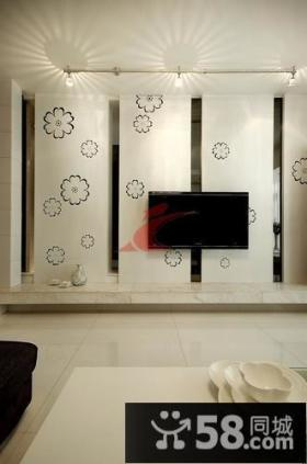现代风格二居室小花朵客厅电视背景墙装修效果图