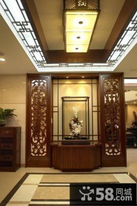 中式别墅玄关吊顶图片
