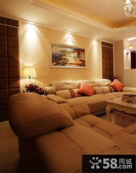 简欧混搭客厅沙发背景墙挂画装饰