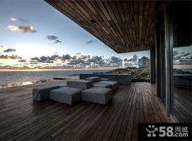 现代海景别墅室外阳台设计效果图