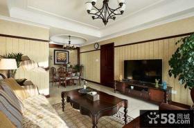 美式风格设计客厅电视背景墙图片欣赏