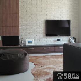 现代别墅室内电视背景墙装修图片