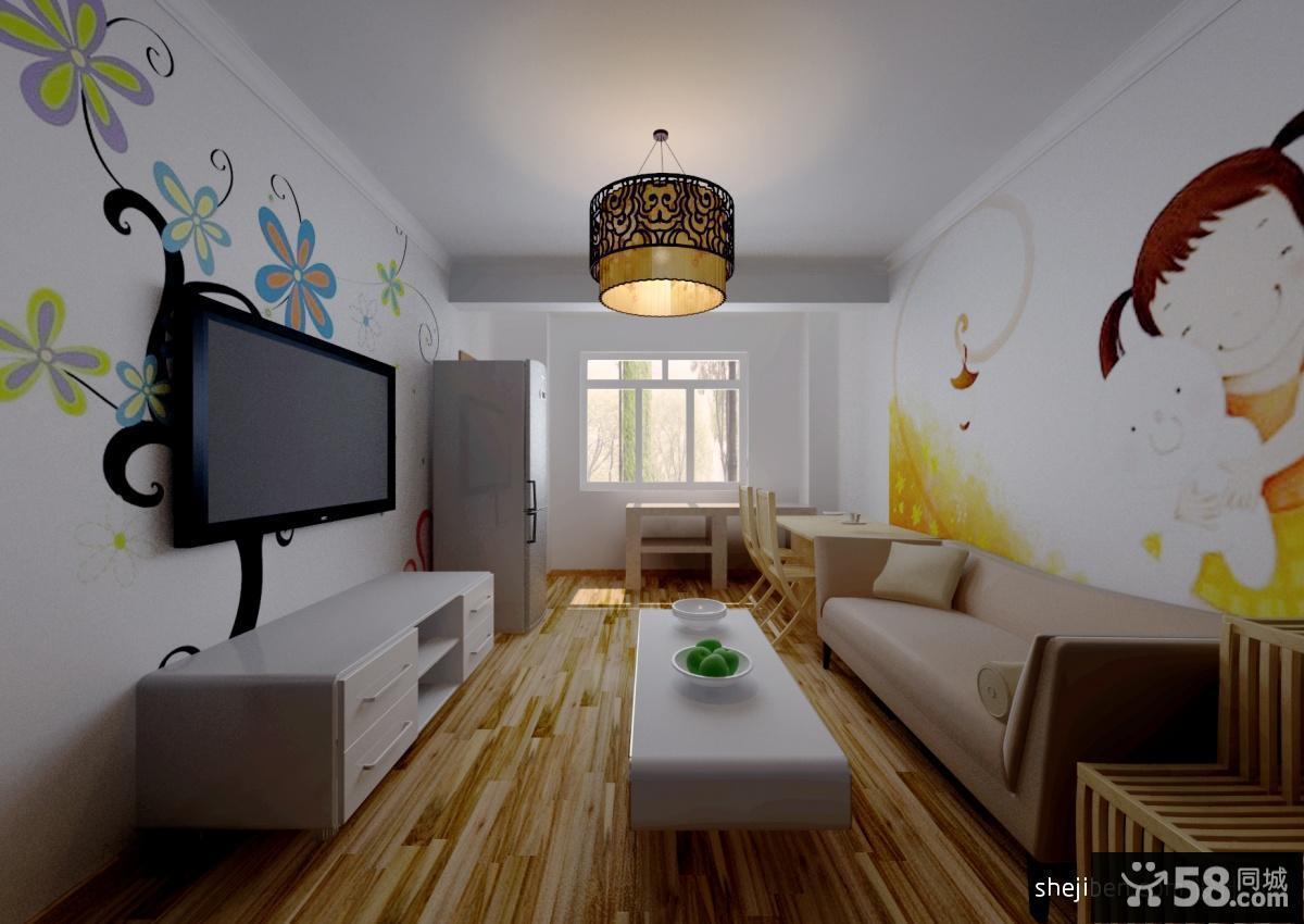 【手绘电视机背景墙】 - 58同城装修效果图大全