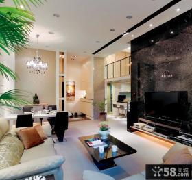 现代复式楼客厅电视背景墙效果图大全2013图片