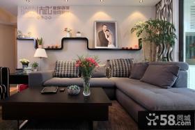 9万打造浪漫简约风格客厅沙发背景墙装修效果图大全2014图片