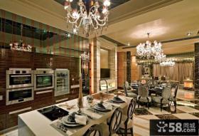 古典欧式厨房连餐厅客厅吊顶效果图