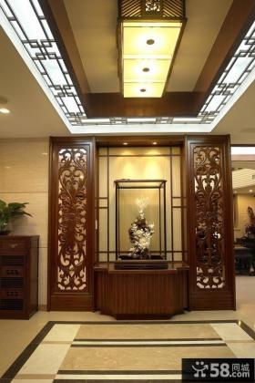 中式客厅玄关隔断装修设计图