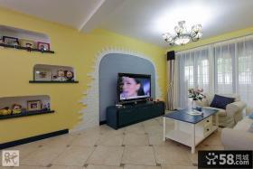 地中海风格装修设计客厅电视背景墙效果图