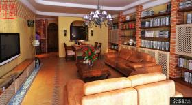 美式田园风格三居室客厅装修效果图