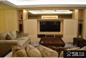 美式风格家居电视背景墙布置效果图