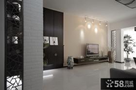 2013新中式客厅电视背景墙地板砖效果图