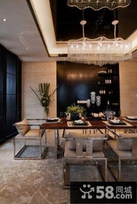 中式现代别墅餐厅效果图