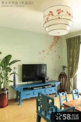 新中式客厅电视背景墙壁纸效果图