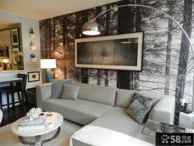 客厅沙发背景墙壁纸图片