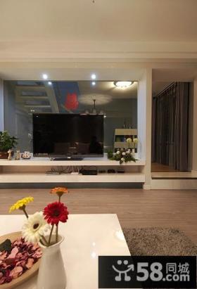 简约时尚客厅电视背景墙设计效果图