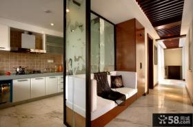 美式风格厨房隔断墙设计效果图