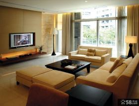 简约风格复式楼客厅纯色沙发效果图