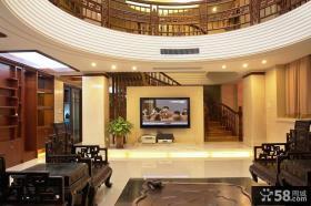 新中式风格别墅客厅电视墙装修效果图