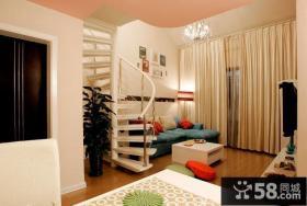 超小复式楼客厅纯色布艺窗帘图片