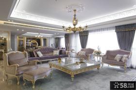 欧式豪华风格别墅客厅装修效果图