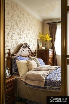 美式卧室床头墙面液体壁纸效果图图片