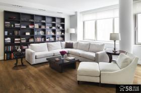 白色简欧风格客厅收纳背景墙装修效果图