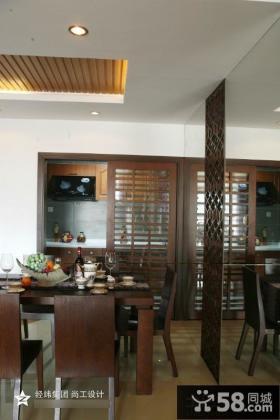 中式风格餐厅桑拿板吊顶效果图