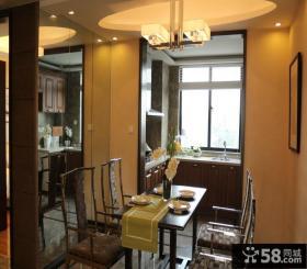 中式风格餐厅圆形吊顶装修效果图片