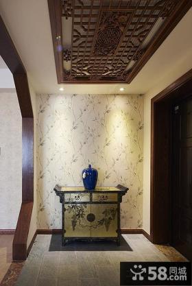 中式风格家装玄关吊顶设计