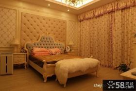 卧室床头软包背景墙窗帘效果图欣赏