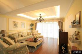 欧式田园风格客厅沙发背景墙装修效果图