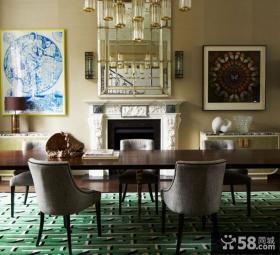 美式复式家庭室内餐厅背景墙设计
