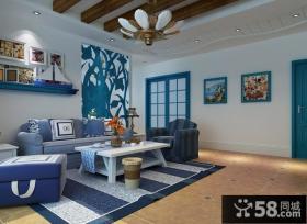 地中海风格小客厅吊顶装修效果图