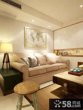 现代美式风格二居客厅效果图