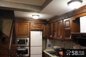 美式风格厨房实木吊柜装修效果图