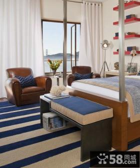 美式风格卧室白色窗帘