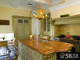 美式简欧风格厨房整体橱柜装修效果图