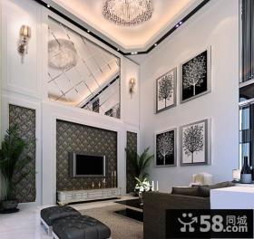 现代别墅客厅背景墙装修设计图片