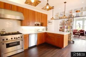 简约开放式厨房整体橱柜装饰效果图
