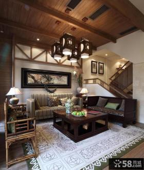 现代中式复式客厅吊顶装修效果图