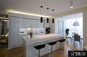 现代开放式厨房吧台设计效果图