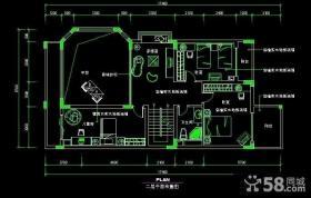 别墅二层cad平面布置图