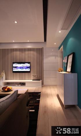 简约条纹壁纸电视背景墙装修效果图