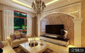 欧式小客厅电视背景墙装修效果图片