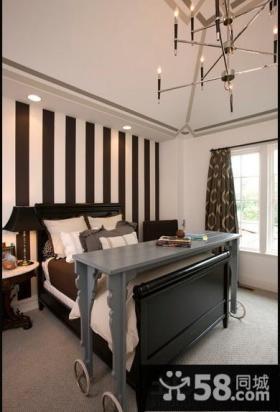 卧室条纹墙纸效果图片大全