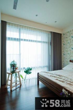 现代个性单身卧室落地窗装修
