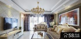 欧式风格一室一厅客厅电视背景墙效果图片