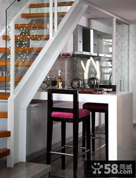 复式楼半开放式厨房吧台图片